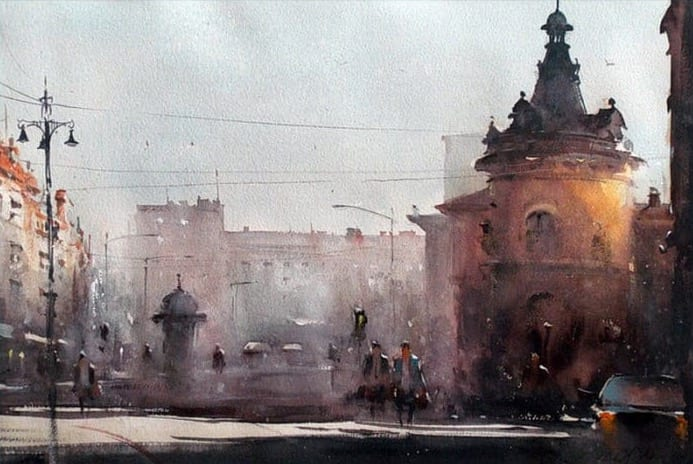 DUSAN DJUKARIC VIEW ON FLOWER SQUARE WATERCOLOR 54X36 CM 2