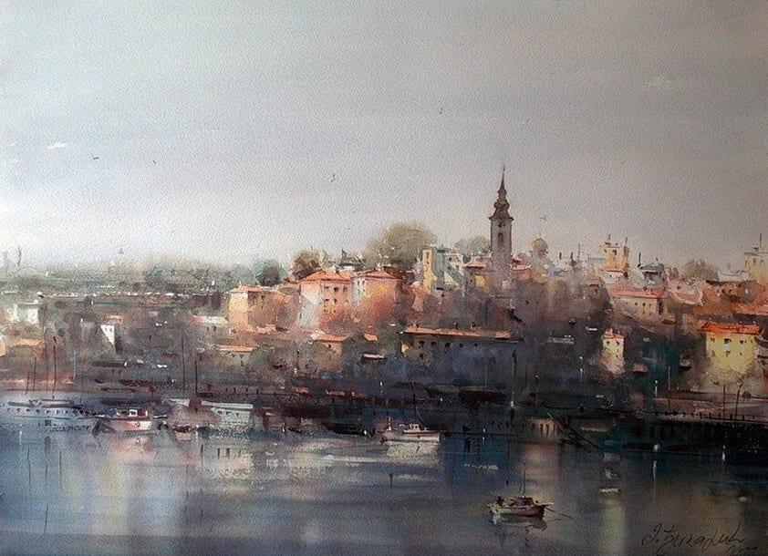 dusan djukaric colours of savamale watercolor 54x74 cm