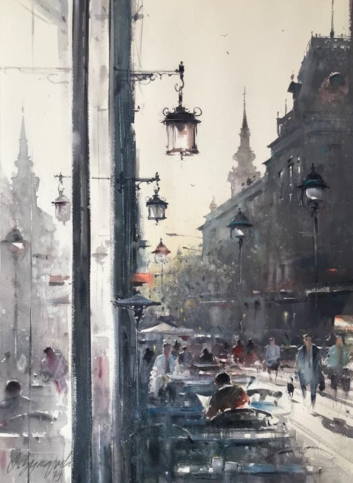 dusan djukaric morning coffe in street kralja petra watercolor 54x74 cm