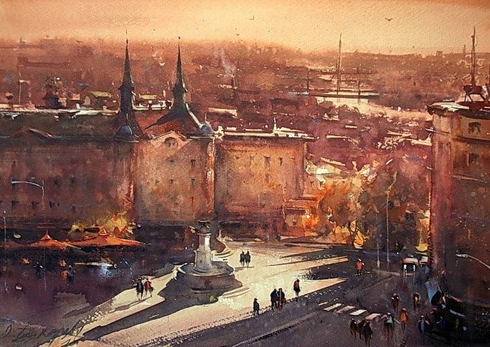 dusan djukaric sunset on terazije watercolor 38x56 cm 3 1