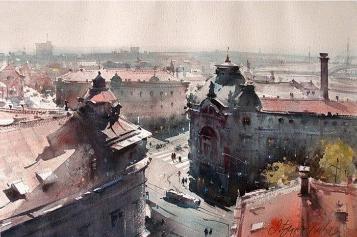 dusan djukaric through the streets of savamala watercolor 37x56 cm