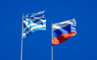 beautiful national state flags of greece and russia together on blue sky 3d artwork 337817 4537