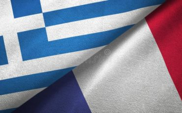 greece france two flags textile cloth fabric texture greece france flags together textile cloth fabric texture 145643882
